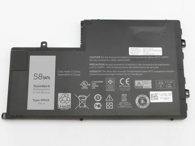 0PD19 Baterie do laptopów 58Wh/7600mAh 7.4V