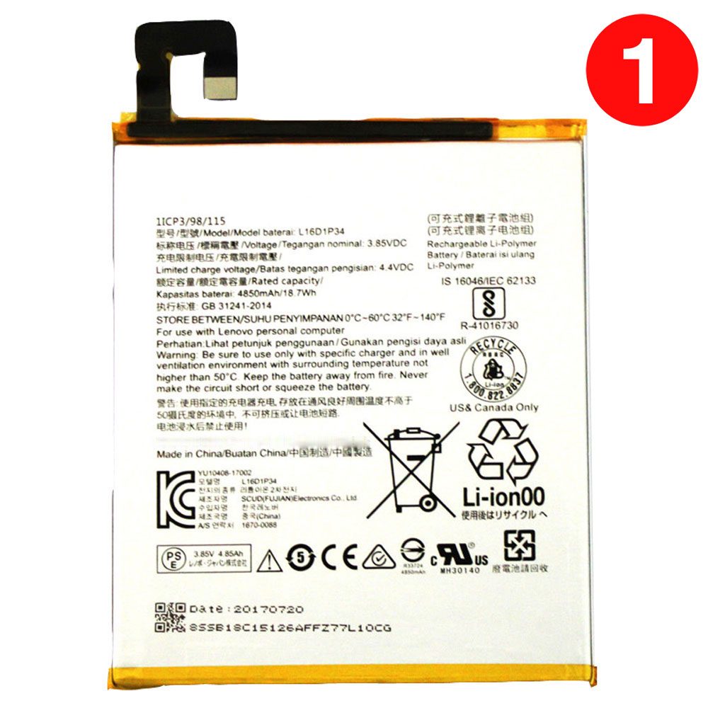 L16D1P34 Baterie do laptopów 4850mAh/18.7WH 3.85V/4.4V